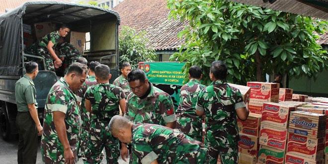 Kodim 0734/Yogyakarta Salurkan Bantuan Kemanusiaan Untuk Korban Gempa di Lombok
